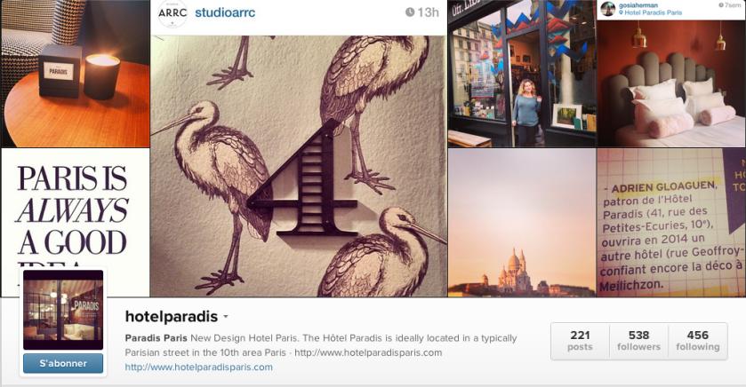 compte instagram hotel paradis paris