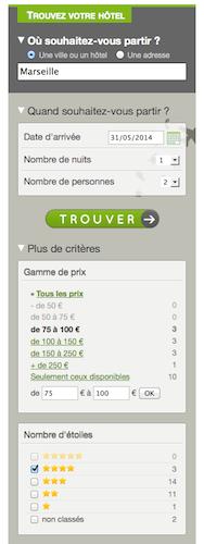 Recherche sur Marseille, pour le 31 mai 2014, hôtels 4 étoiles, entre 75 et 100 €